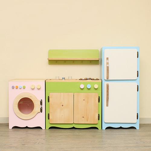 [원목주방놀이 세트] 장난감싱크대 장난감냉장고 장난감세탁기